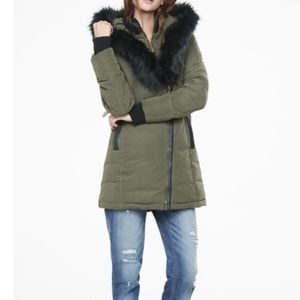 Olive Green Puffer Coat with Faux Fur Hood Trim